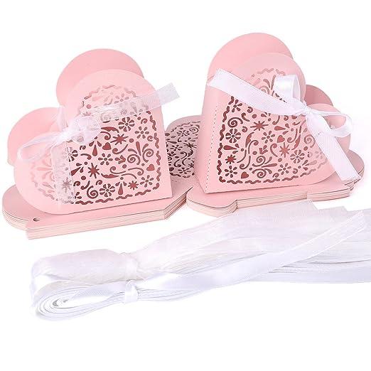 25 x Laser Cut Pink Gastgeschenk Geschenkbox Schachtel Bonboniere ...