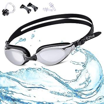 EZfull Gafas de Natación Gafas para Nadar Anti Niebla y Anti Rayos UV para Hombres Mujeres Adultos Jóvenes Niños, Ideal para Todo Tipo de Agua, ...
