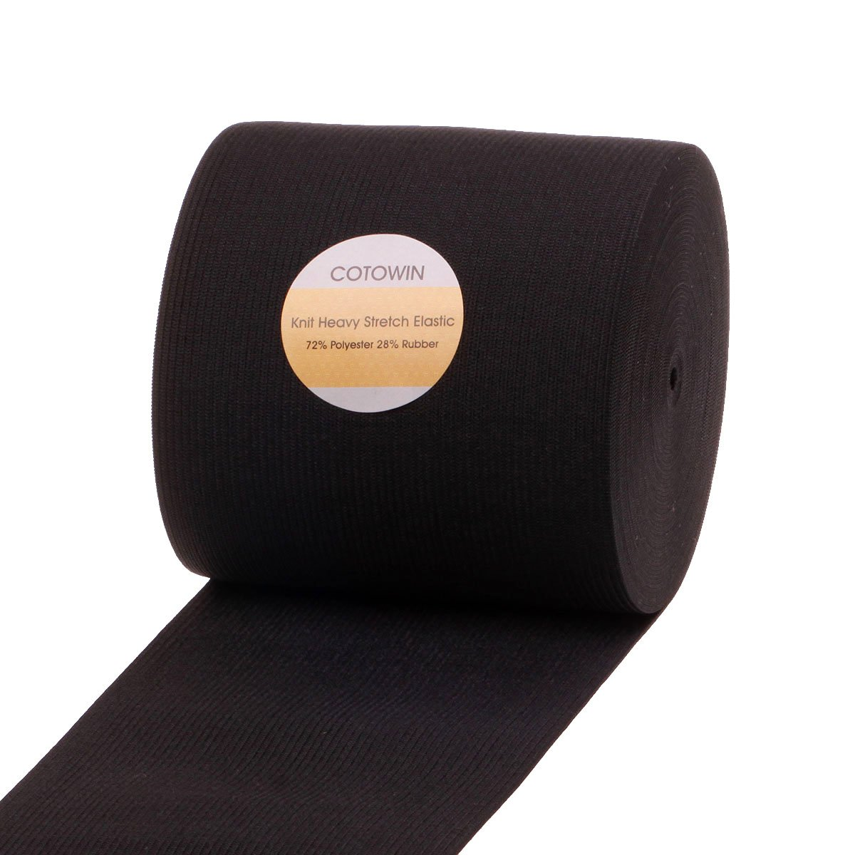 COTOWIN 4-inch Black Knit Heavy Stretch High Elasticity Elastic Band 10 Yards by COTOWIN