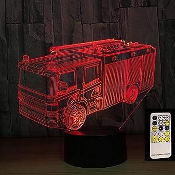 Camión de bomberos 3D luz nocturna 7 colores LED USB mesa luz ...