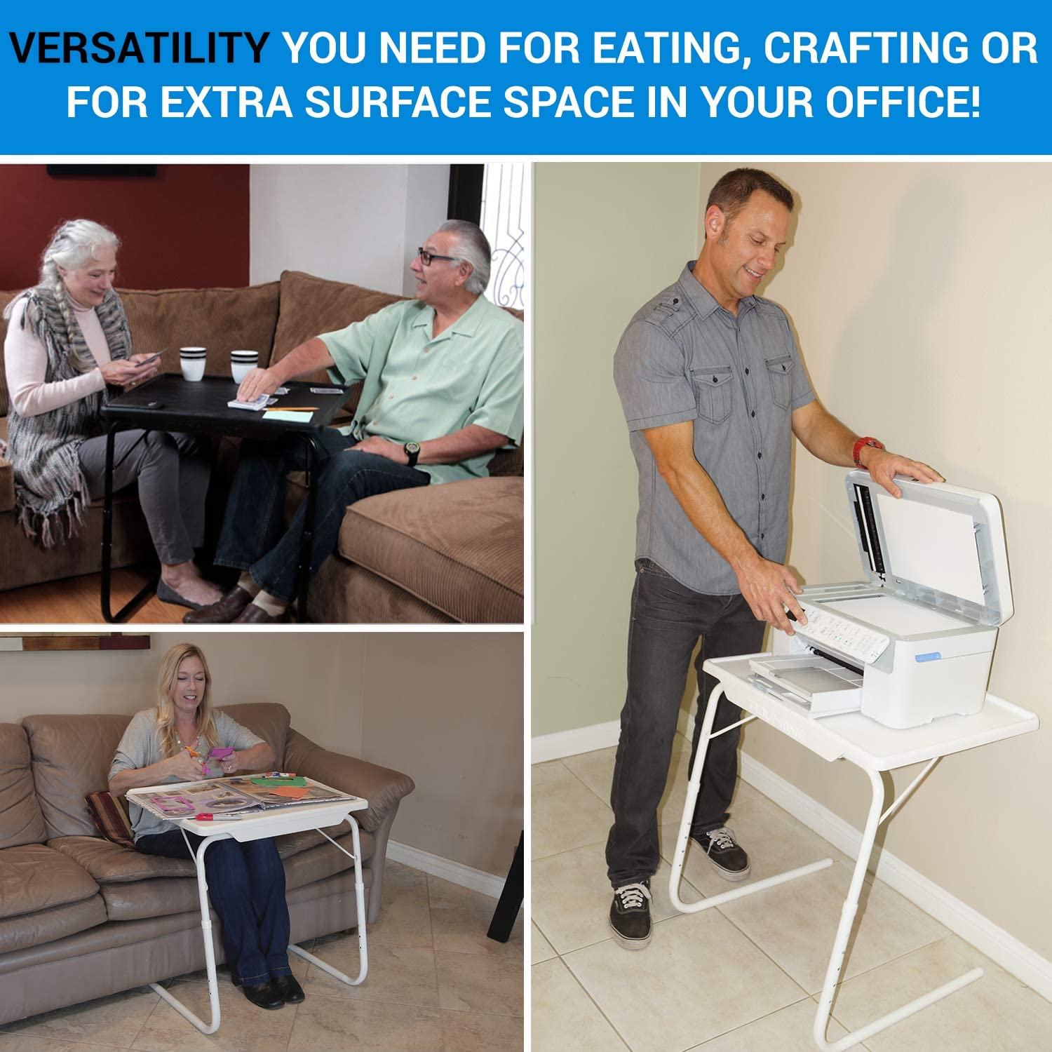 Table Mate XL TV Tray Extra Large Folding Table Adjustable to 6 Heights and 3 Angles for Eating Laptop and Multipurpose Use Black
