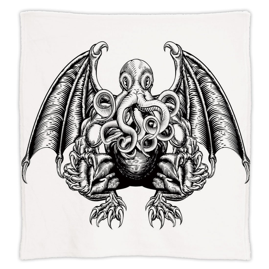iPrint Super Soft Throw Blanket Custom Design Cozy Fleece Blanket,Kraken Decor,Cthulhu Monster Evil Fictional Cosmic Monster in Woodblock Style Illustration,Black White,Perfect for Couch Sofa or Bed