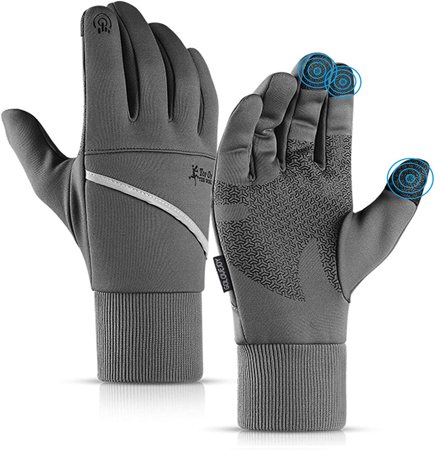 Waterproof Touch Screen Anti-Slip Gloves for Men Women,Running Warm Gloves,Driving Night Reflective Pocket Gloves DHSO Winter Cycling Gloves Gray, X-Large