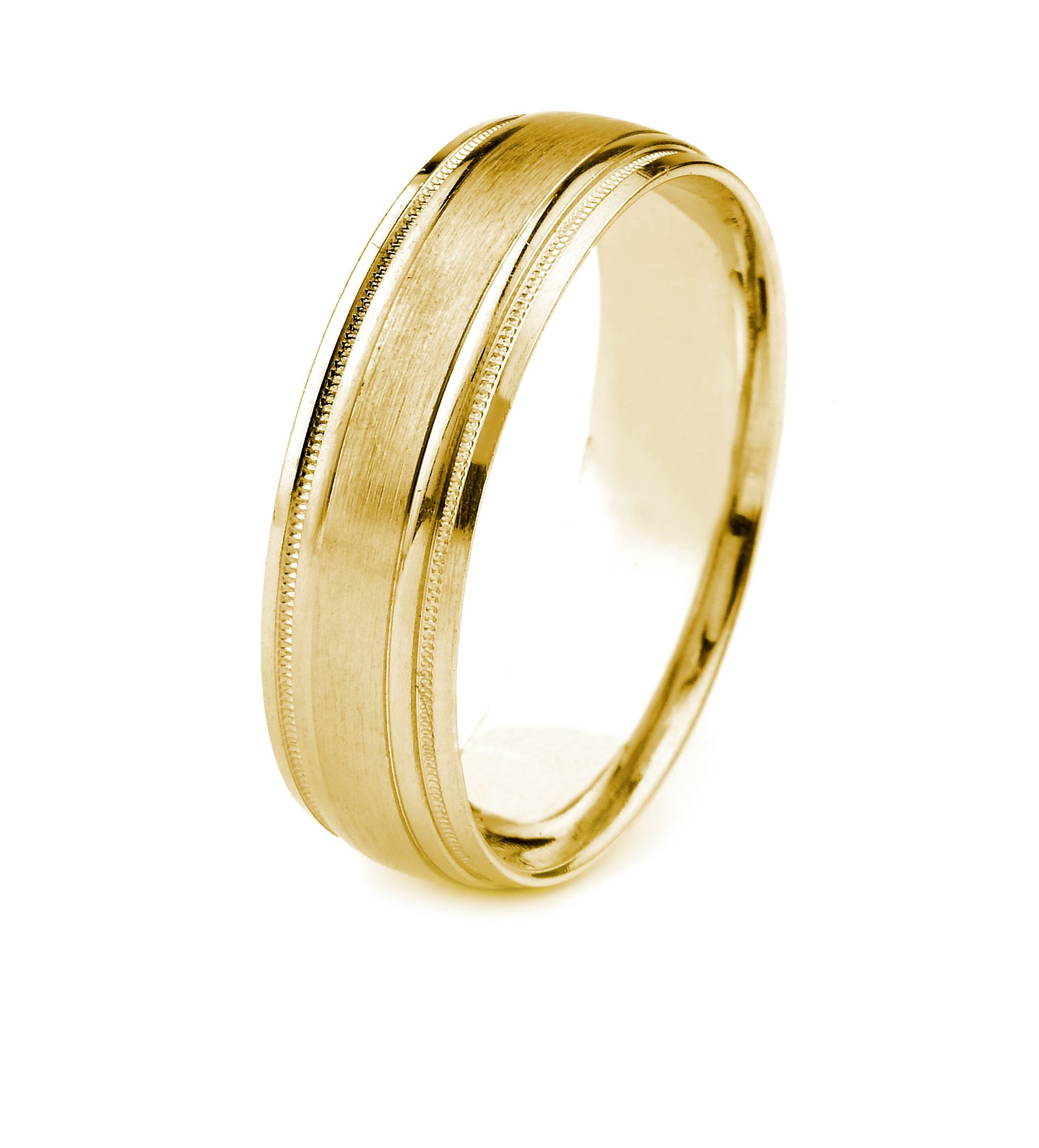 10k Gold Men's Wedding Band with Satin Finish and Carved Milgrain Edges (6mm)