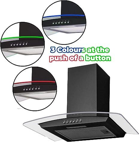 SIA CPLE60BL - Campana extractora de campana extractora de cristal curvada (60 cm), color negro: Amazon.es: Grandes electrodomésticos