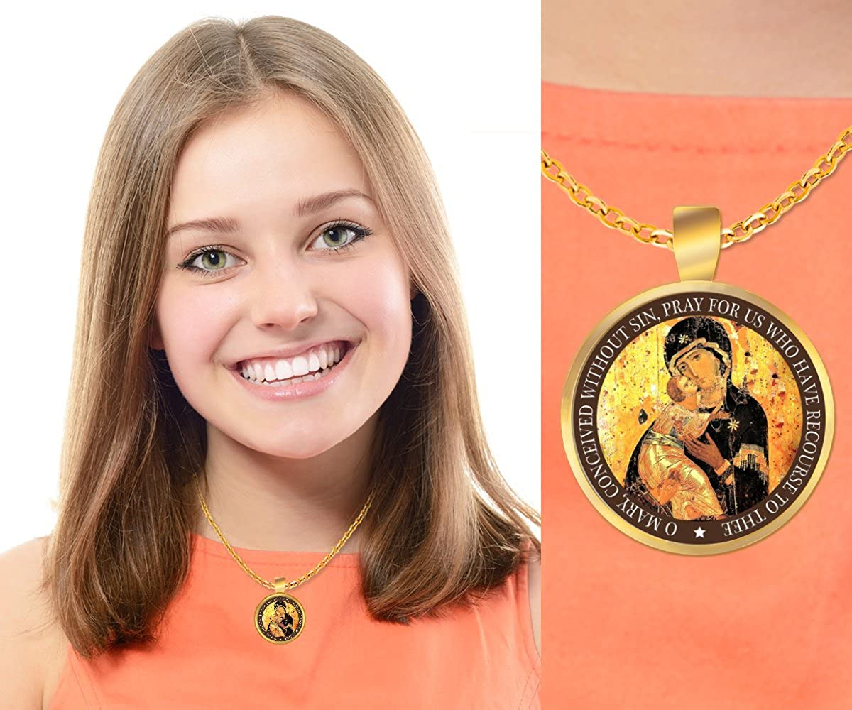 Mother Mary Necklace Gold Virgin Mary Necklace
