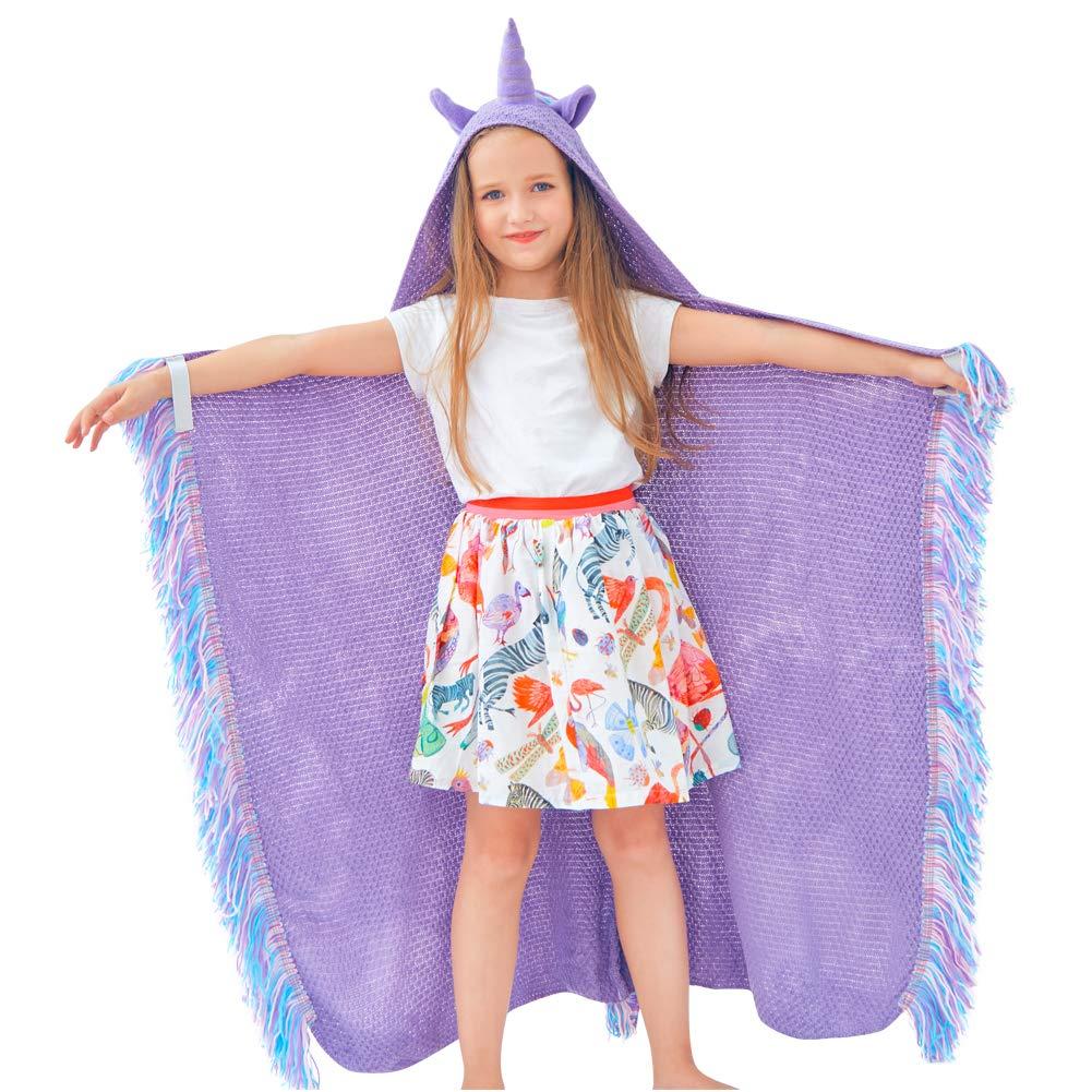 MHJY Unicorn Blanket for Girls Hooded Animal Blanket Wearable Crochet Knit Cloak Blanket Birthday Unicorn Gifts for Kids touchhome