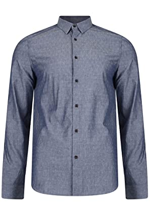 458eae6dc8191 Threadbare - Chemise casual - Avec boutons - Col Chemise Classique - Homme  - Bleu -