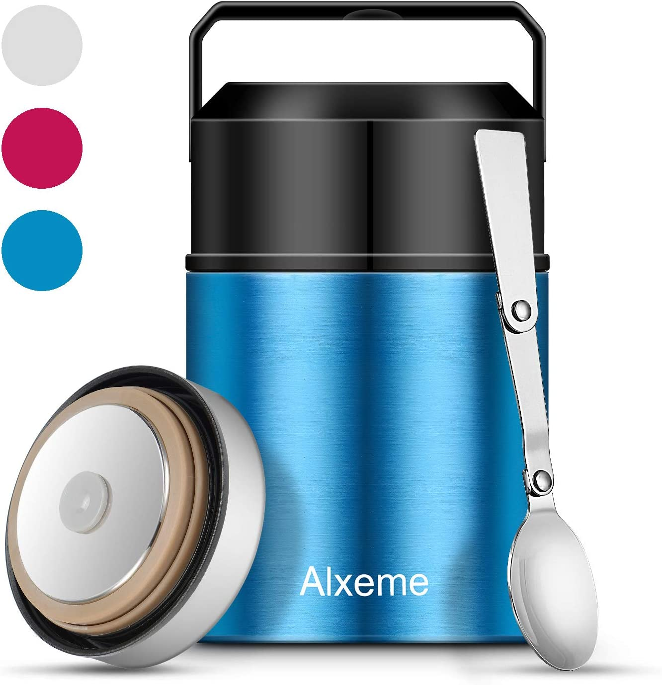 Insulated Lunch Containers Food Jar Alxeme 27 oz Stainless Steel Vacuum Soup Thermos Bento Lunch Box for Hot/Cold Food with Folding Spoon & Flexible Handle Leak Proof Wide Mouth for Work – Blue