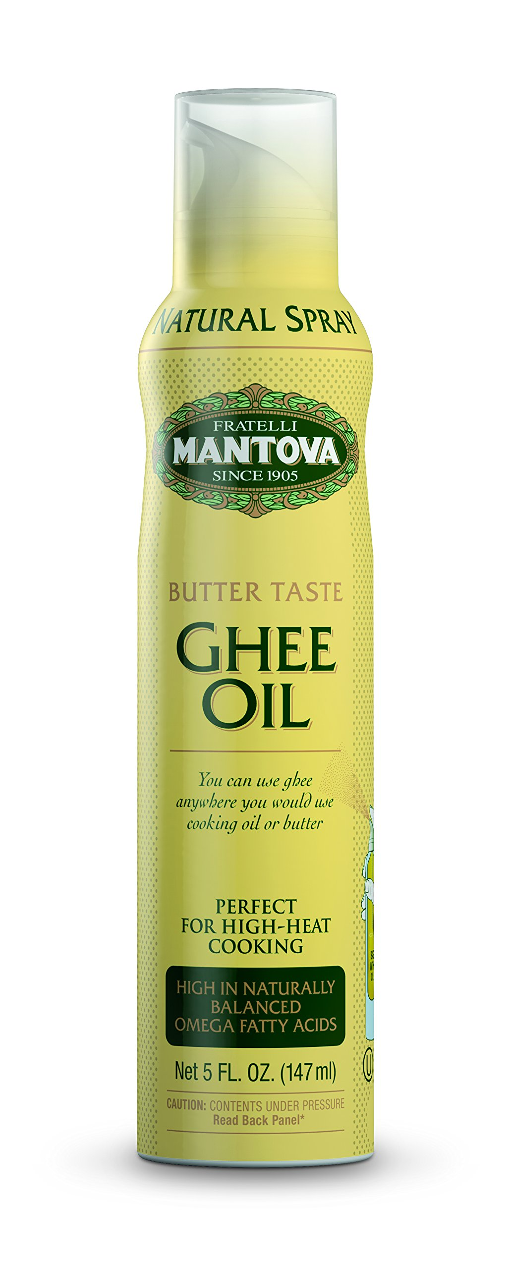 Ghee Butter Spray High in naturally balanced omega fatty acids, with olive oil and avocado oil, 5 oz by Mantova