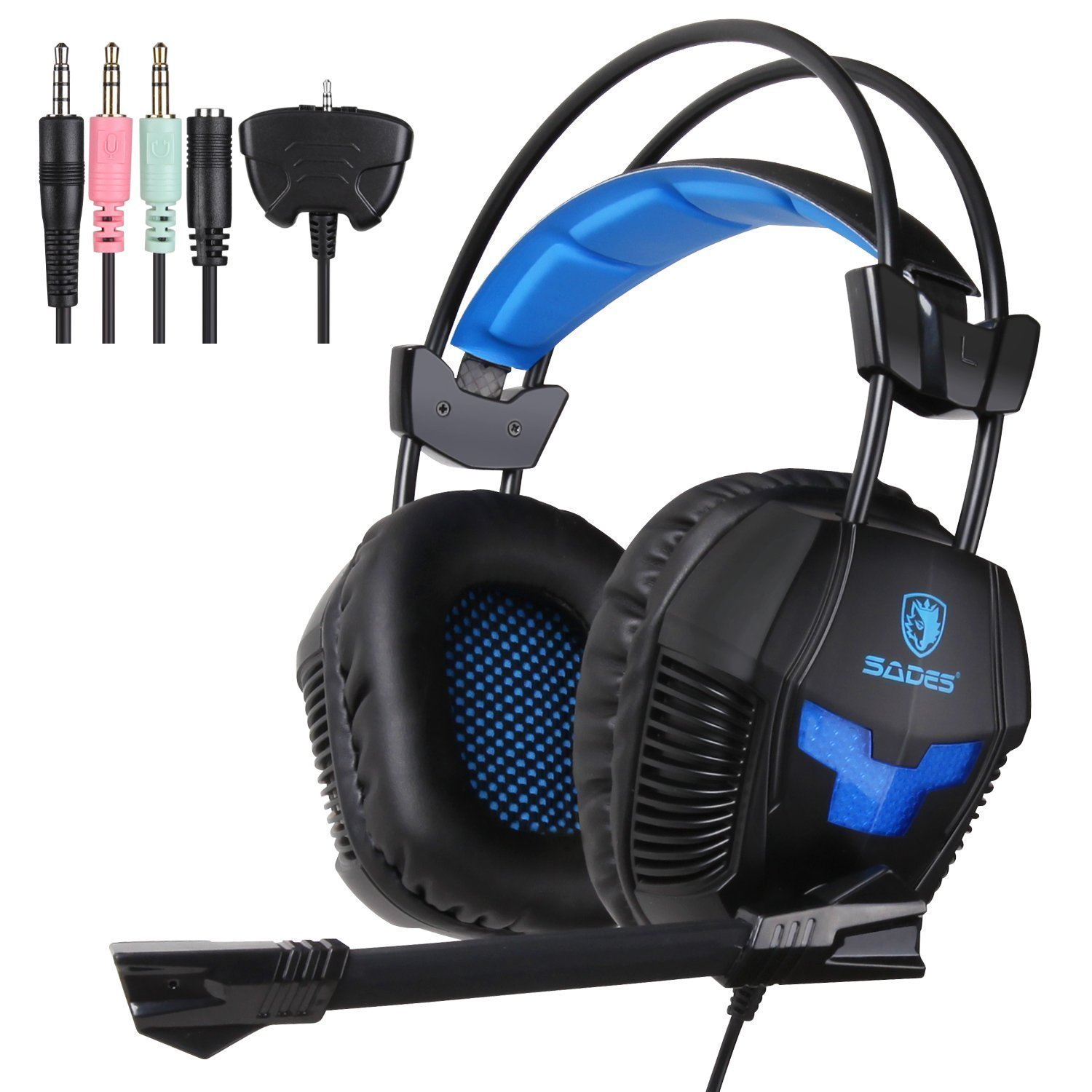 Yanni PS4 Gaming Headset, SA921 Lightweight Stereo Headphones Over Ear with Mic, Volume Control for PC Mac Computer iPhone Smart Phone Laptop iPad Mobile(Black Blue) by SADES
