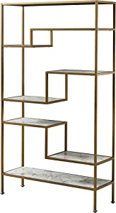 """Versanora VNF-00035 Marmo Large 5-Tier Display Etagere Bookcase, 40"""" x 13.5"""" x 72"""", Faux Marble/Brass"""