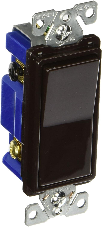 Eaton 7504B 15 Amp 4-Way Rocker Decorator Switch, Brown