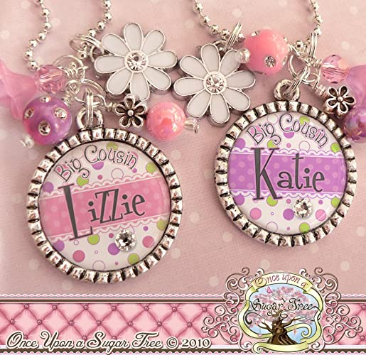 Personalized Big Cousin Necklace Flower Charm Birthday Gift For Little Girl Pink OR