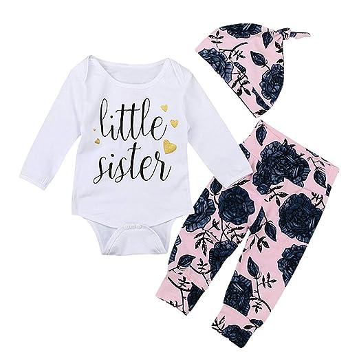 e0ca41ed5fe Newborn Baby Girl Clothes Little Sister Bodysuit Romper Top + Floral Rose  Pants + Hat 3Pcs