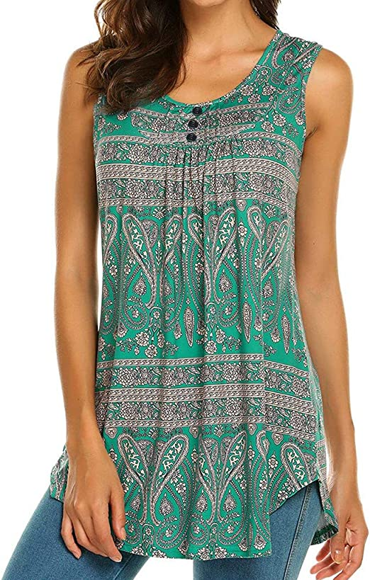 wodceeke Women Printed Slevveless Vest Tops Casual O-Neck Button Flare Tunic Tank Top