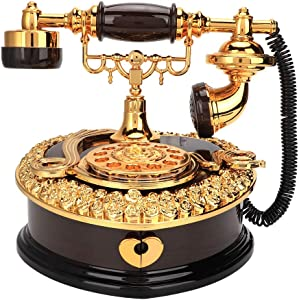 HERCHR Vintage Music Box, Retro Heart Shaped Dial Telephone Model Music Boxes Musical Box Birthday Gift Home Ornament Decoration