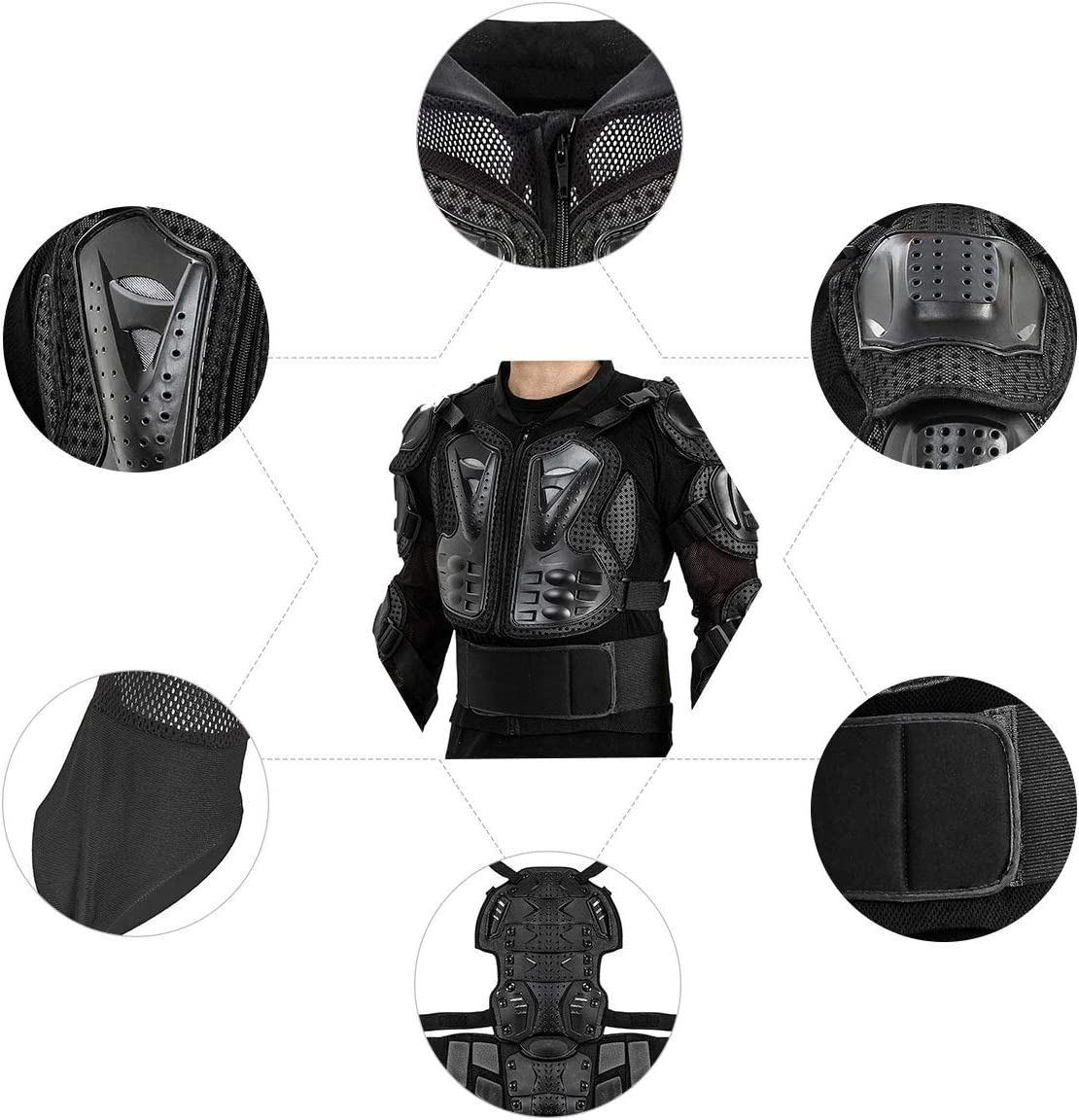 Motorcycle Full Body Protective Armor Pro Street ATV Guard Shirt Jacket with Back Protection Schwarz, L