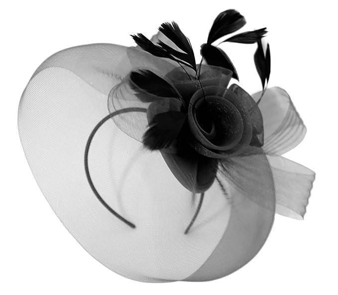 af1ad1e4bb6b9 Caprilite Large Black Fascinator Veil Headband Wedding Ascot Races Hat  Feathers Hatinator  Amazon.co.uk  Clothing