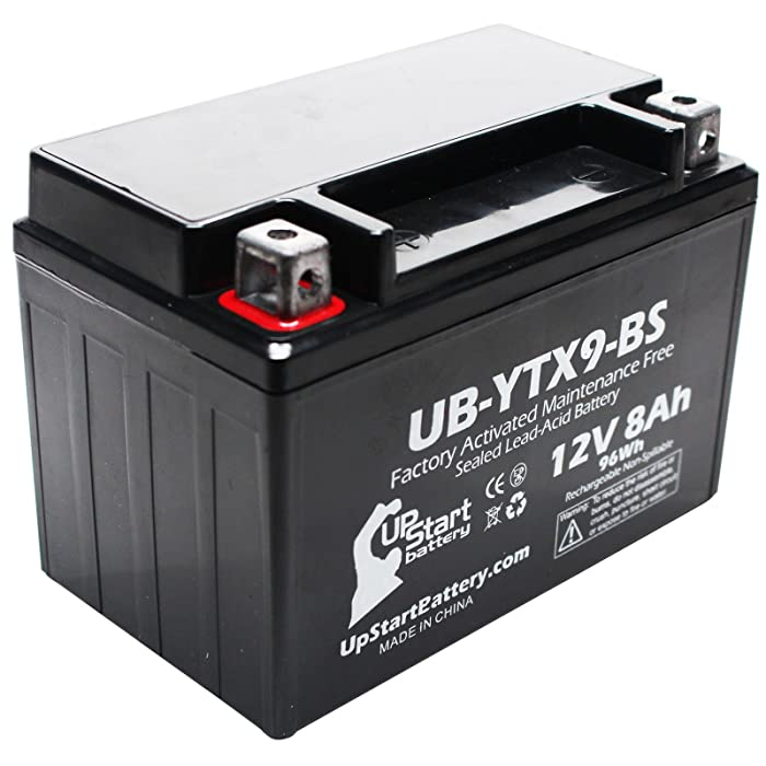 Replacement for 2010 Kawasaki EX250, Ninja 250R 250CC Factory Activated, Maintenance Free, Motorcycle Battery - 12V, 8Ah, UB-YTX9-BS