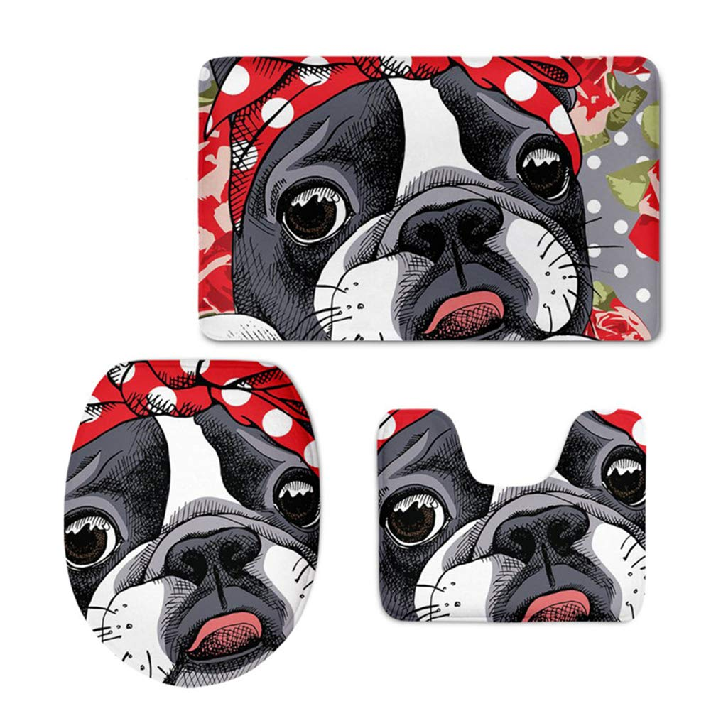 Coloranimal Kawaii Cartoon Boston Terrier Flannel Soft Toilet Rug 3 Piece Set, Non Slip Bathroom Rugs, U-Shaped Toilet Mat, Lid Cover for Shower Room Washroom Decorative