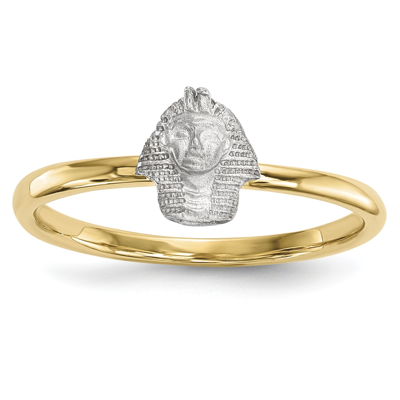 ICE CARATS 14k Two Tone Yellow Gold Pharaoh Band Ring Size 7.00 Fine Jewelry Gift Set For Women Heart