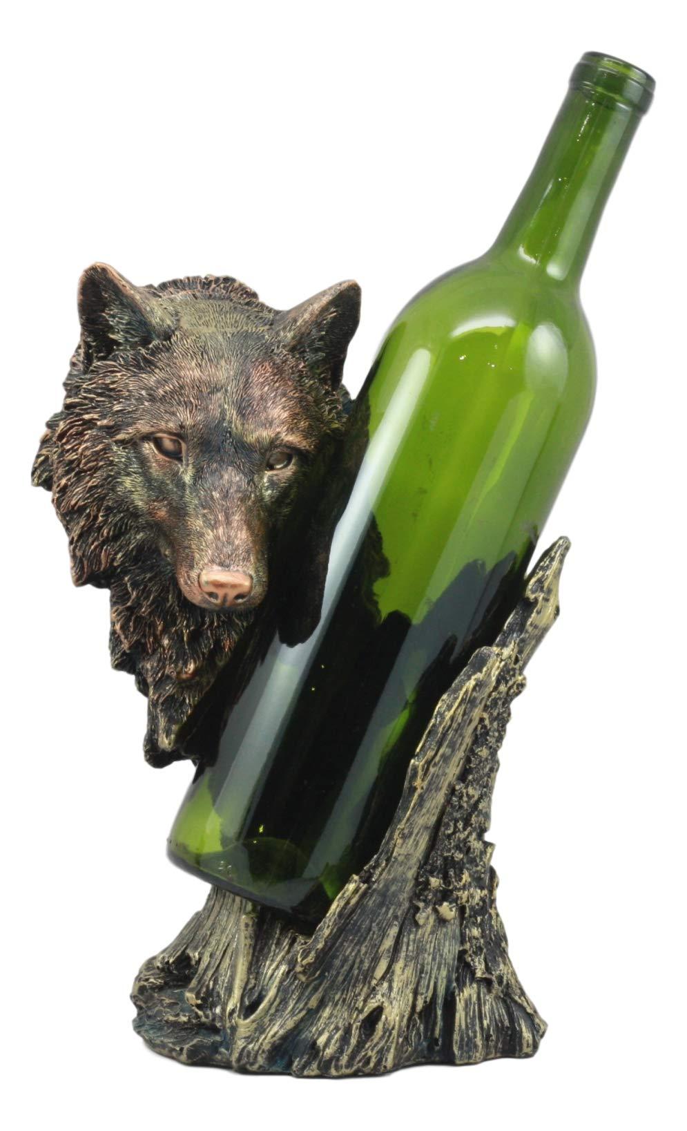 Ebros Large Woodlands Gray Wolf Wine Holder Figurine 10'' Tall Animal Spirit Full Moon Werewolf Decor