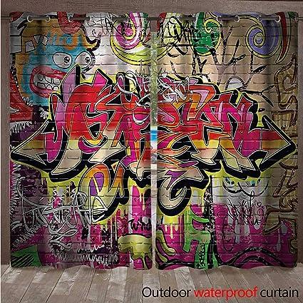 Amazon com : cobeDecor Brick Wall Home Patio Outdoor Curtain
