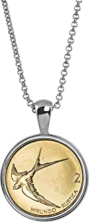 product image for American Coin Treasures Barn Swallow Coin Necklace- Genuine Solvenia Coin Silvertone Pendant with Round Bezel  Bird in Flight Medallion Pendant   18 Inch Cable Chain with 3 Inch Extender