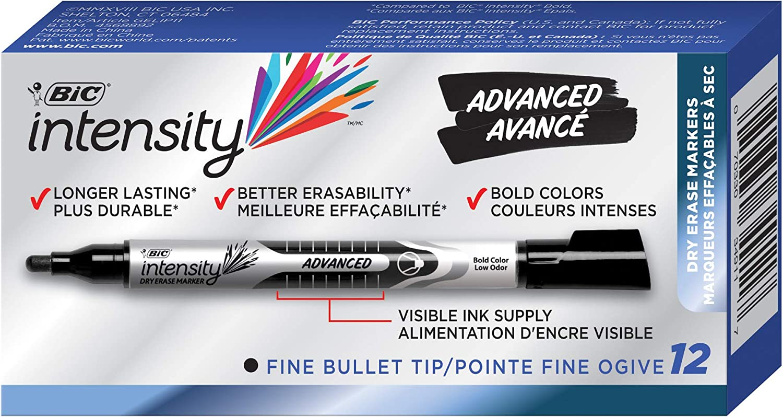 Tank Style Chisel Tip Black 12 Pack BIC Magic Marker Brand Dry Erase Marker