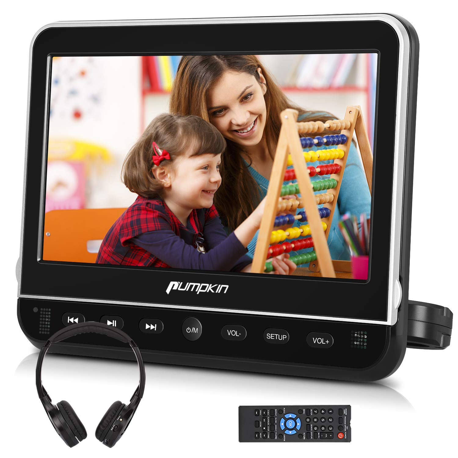 PUMPKIN 10.1 Inch Car Headrest DVD Player with Free Headphone, Support 1080P Video, HDMI Input, AV in Out, Region Free, USB SD