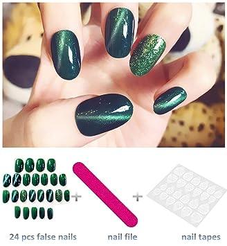 Amazon.com: editTime - 24 uñas postizas ovaladas de tamaño ...