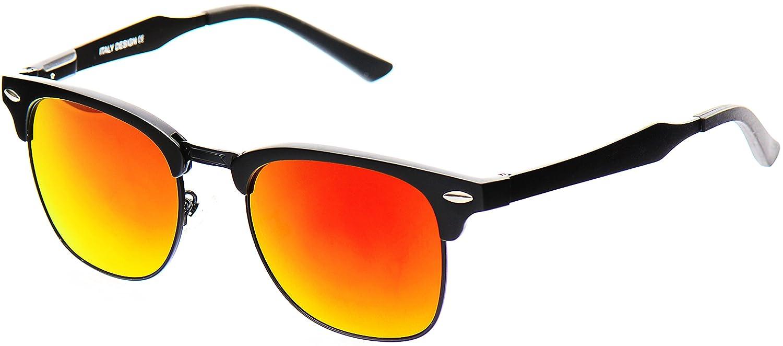 c20c8c0e343 LUENX Vintage Clubmaster Polarised Half frame sunglasses Mens Womens with  Elegant Glasses Case - UV 400 Protection Orange Mirror Lens Black Frame  50mm  ...