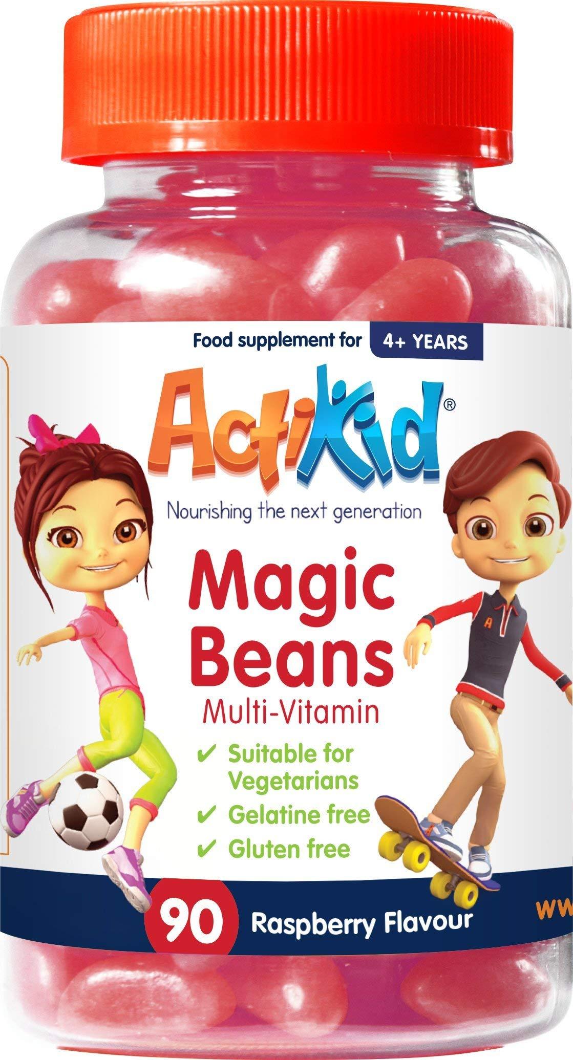 ActiKid Magic Beans Multi-Vitamin 90x Raspberry Flavour, Gelatin Free, Children's Vitamin, Immune System Booster