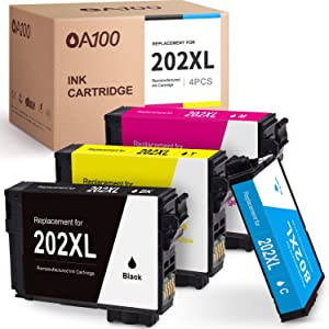 OA100 Updated Chip Remanufactured Ink Cartridges Replacement for Epson 202XL 202 XL for Workforce WF-2860 Expression Home XP-5100 All-in-One (4 Pack)