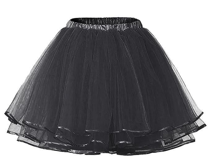 70c501156 Facent Mujer Adultos Cortas Tutu Falda Tul Enaguas para Disfraz Halloween  Negro  Amazon.es  Ropa y accesorios