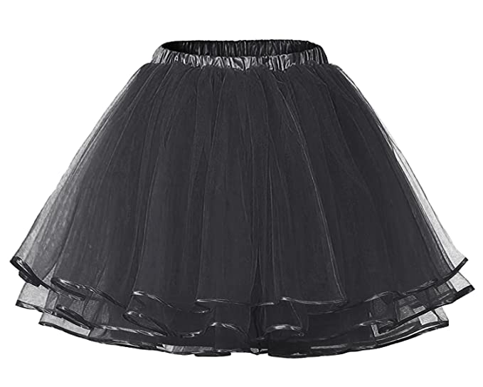 Facent Mujer Adultos Cortas Tutu Falda Tul Enaguas para Disfraz Halloween Negro