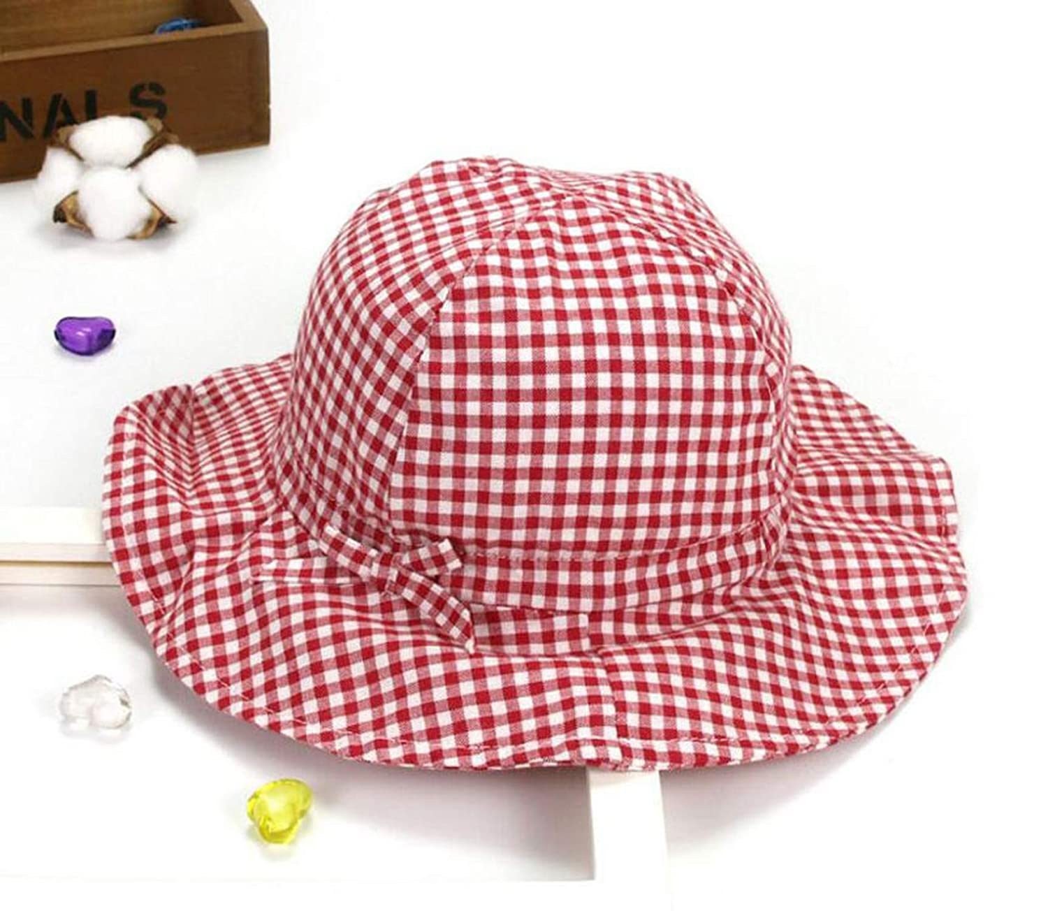 Child Bucket Hat Wide Brim Cotton Unisex Fisherman Cap Outdoor M6050 Spring Plaid Beach Hat Summer Child Cap