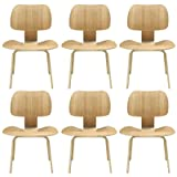 Modway Fathom Mid-Century Modern Molded Plywood Six Dining Chair Set in Natural