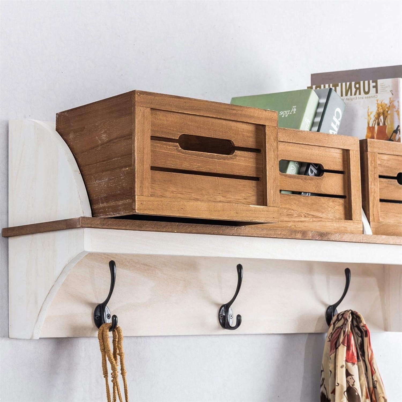 CARO-M/öbel Wandgarderobe CULTURA in braun//wei/ß Garderobenleiste H/ängegarderobe Wandregal im angesagtem Vintage Look Landhaus Stil