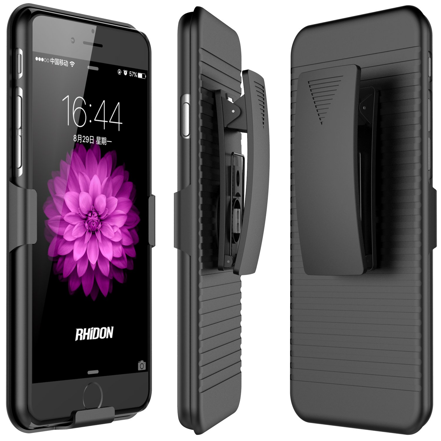 best service c0272 11e28 iPhone 6S Plus Rhidon Case Combo Super Slim Hard Shell Layer Holster  Open-Face Sport Case with Holster Kickstand and Locking Belt Swivel Clip  for ...