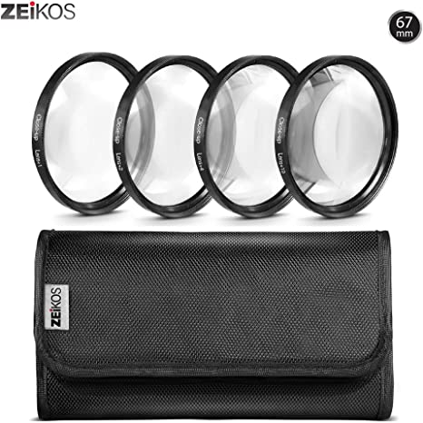 Zeikos Juego de filtros de Primer Plano de Alta definición 4 Piezas Kit de ampliación – de Metal Rim, Incluye Estuche: ZEIKOS: Amazon.es: Electrónica