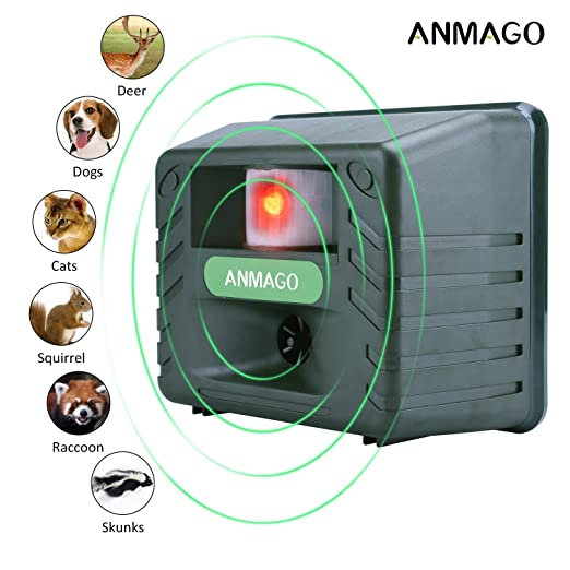 Anmago Animal Repellent Ultrasonic, Outdoor Electronic Pest Animal Control, with Motion Sensor For Repelling Raccoon Dogs Cats Chipmunk Squirrels Deer Rabbits Birds, Nontoxic, EcoFriendly, UPGRADED