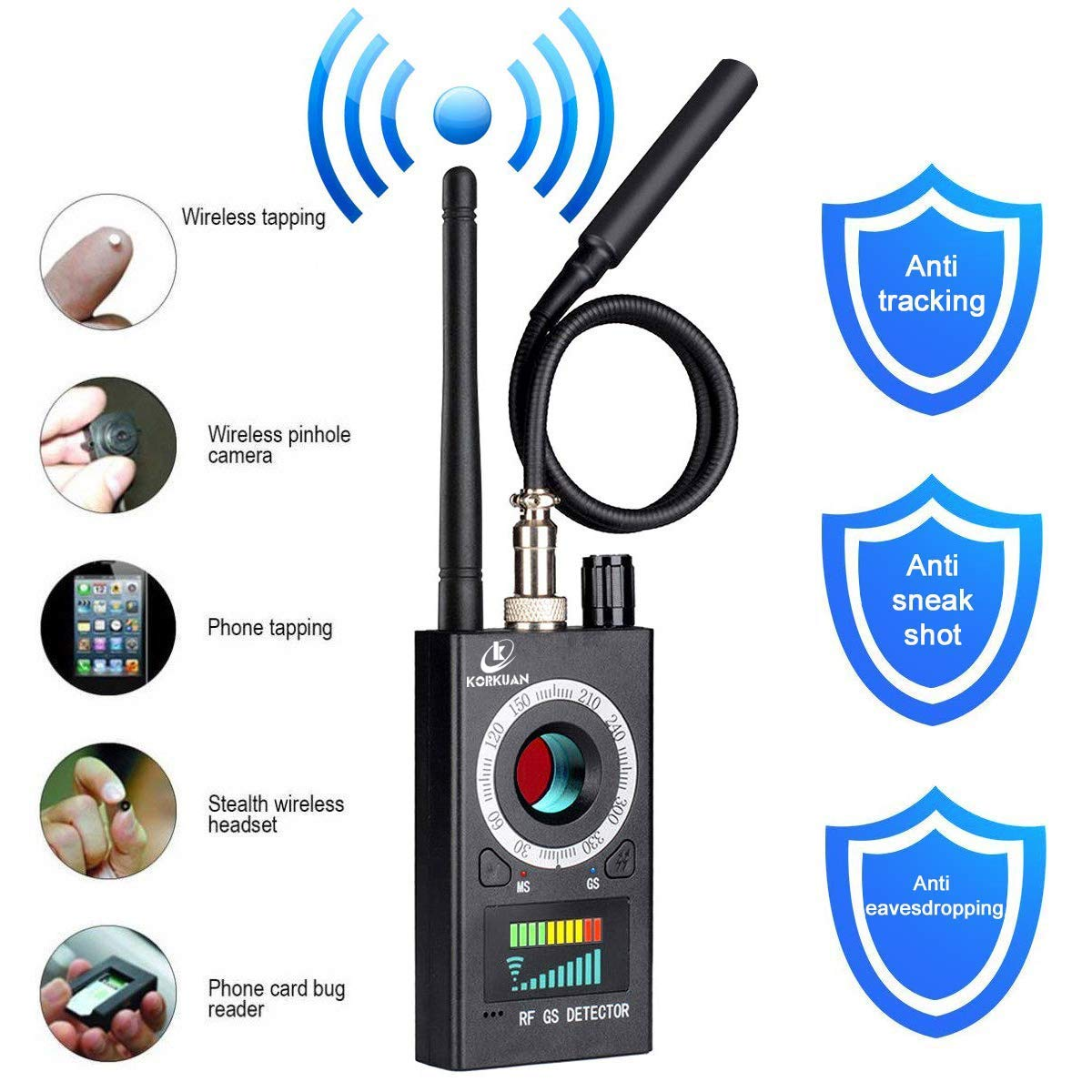 Anti Spy Detector, RF Detector & Camera Finder, Bug Detector, Upgraded RF Signal Detector, KORKUAN GSM Tracking Device for Wireless Audio Bug Hidden Camera Detector by Wattne