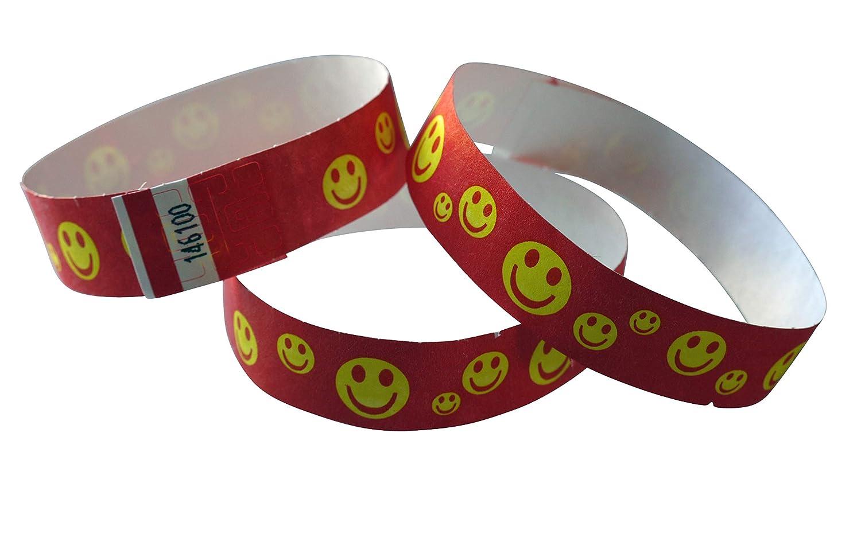 rosso o giallo 100 pezzi Braccialetti di controllo in Tyvek stampati con Happy Faces colore: nero giallo rot