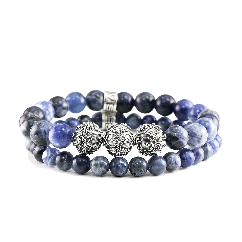 1d0c28218600 Pulsera Bali Duo de plata de ley con piedras preciosas de sodalita ...