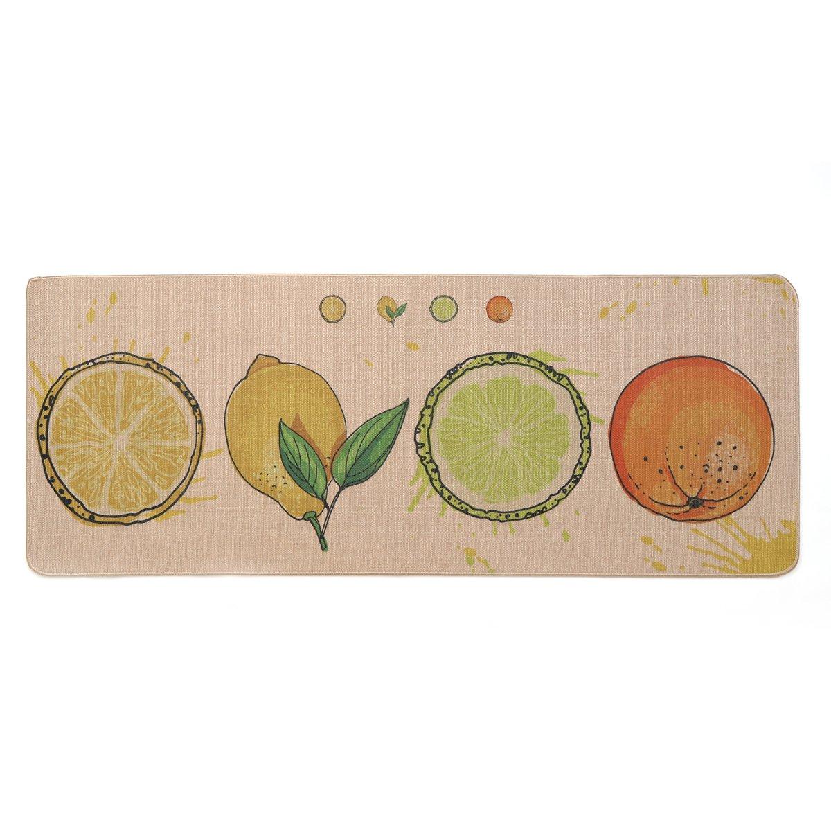 Kitchen Rugs,LEEVAN Microfiber Non-Skid/Slip Rubber Back Washable Doormat Floormat Area Rug Carpet(Fruits,17'' X 47'')