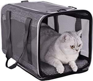 Top Load Pet Carrier for Large, Medium Cats, 2 Kitty and Small Dogs with Comfy Bed | Easy to Get Cat in, Escape Proof, Easy Storage, Washable, Safe and Comfortable for Vet Visit and Car Ride