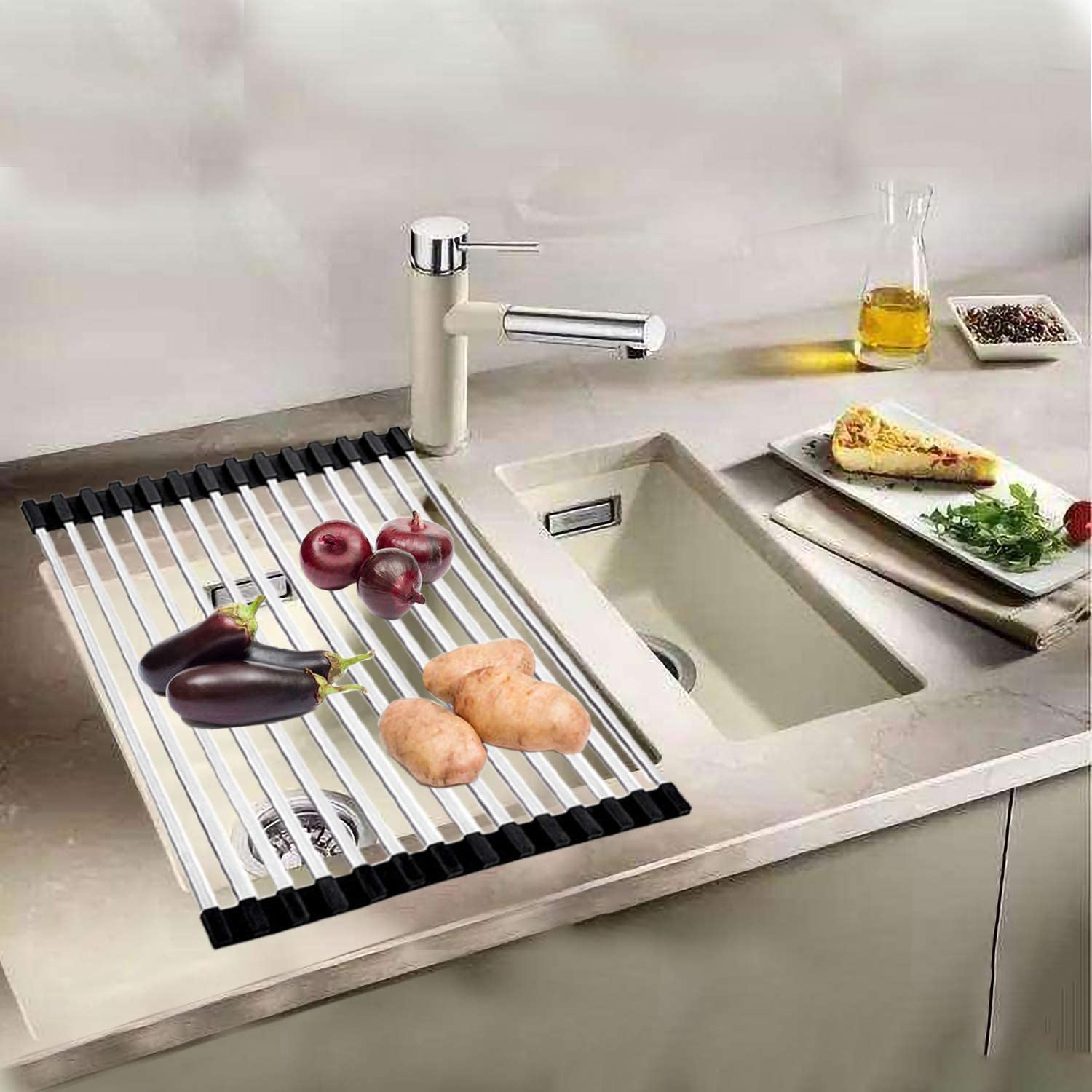 Ahyuan Roll up Dish Drying Rack Square Tubes Stainless Still Over The Sink Dish Rack Roll Up Dish Drainers for Kitchen Sink Counter Roll-up Drying Rack Foldable Dish Drying Rack (17.8