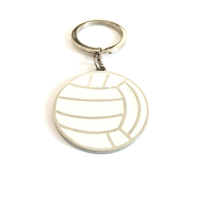 Llavero balón de voleibol de acero y esmalte blanco: Amazon.es ...